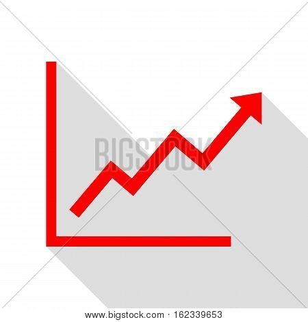 Growing bars graphic sign. Red icon with flat style shadow path.