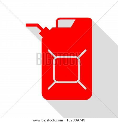 Jerrycan oil sign. Jerry can oil sign. Red icon with flat style shadow path.