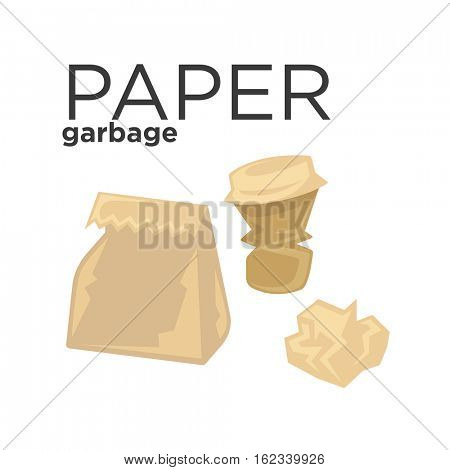 Crumpled paper garbage in rubbish bin. Recycle trash concept illustration. Waste recycling and environmental protection. Vector illustration isolated on white background.