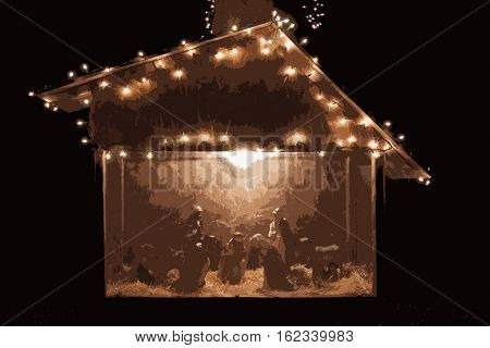 Christmas Nativity scene depicting the birth of Jesus Christ decorated with lights at night, photo illustration paint by number filter effect.