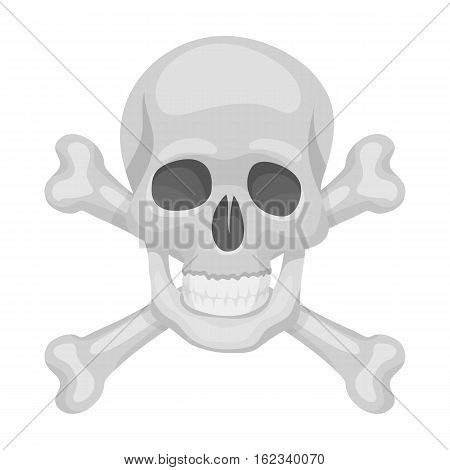 Pirate skull and crossbones icon in monochrome style isolated on white background. Pirates symbol vector illustration.