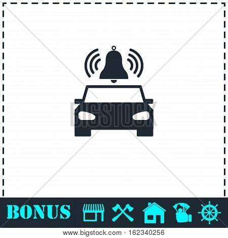 Car alarm icon flat. Simple vector symbol and bonus icon