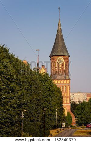 Tower with clock at Cathedral in Kaliningrad