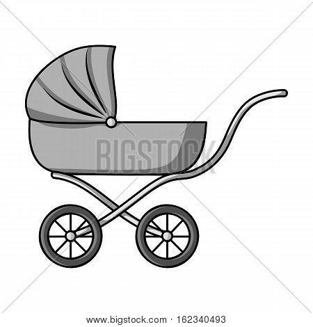 Pram icon in monochrome style isolated on white background. Baby born symbol vector illustration.