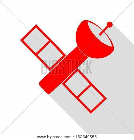 Satellite Sign Illustration. Red Icon With Flat Style Shadow Pat