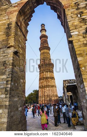 People Visit Qutb Minar, Delhi, The Worlds Tallest Brick Built Minaret