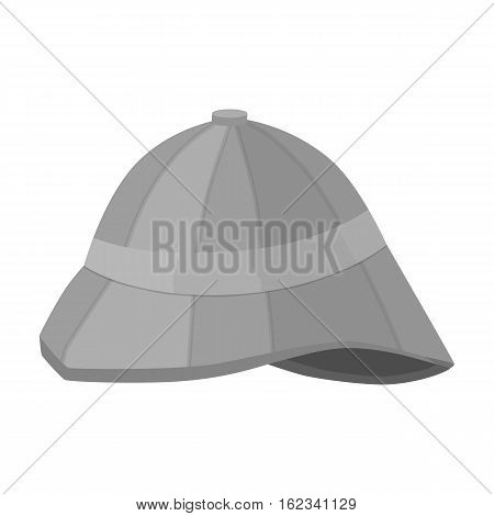 Pith helmet icon in monochrome style isolated on white background. England country symbol vector illustration.