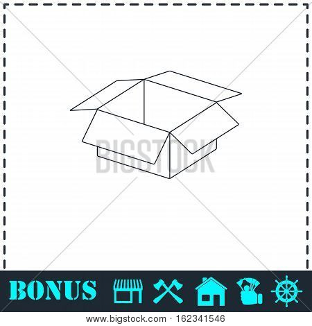 Open box icon flat. Simple vector symbol and bonus icon