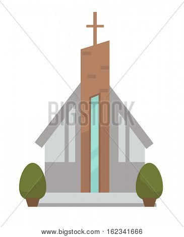 Architecture of modern urban chapel. Exterior facade of church of christian religion. Building with cross. Vector icon in flat design. Cartoon illustration of concept glass city construction