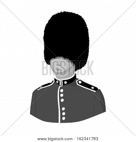 Queen's guard icon in monochrome style isolated on white background. England country symbol vector illustration.