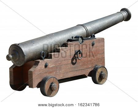 Ancient medieval cannon on wheels isolated on white.