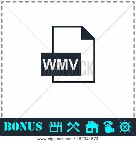 WMV icon flat. Simple vector symbol and bonus icon