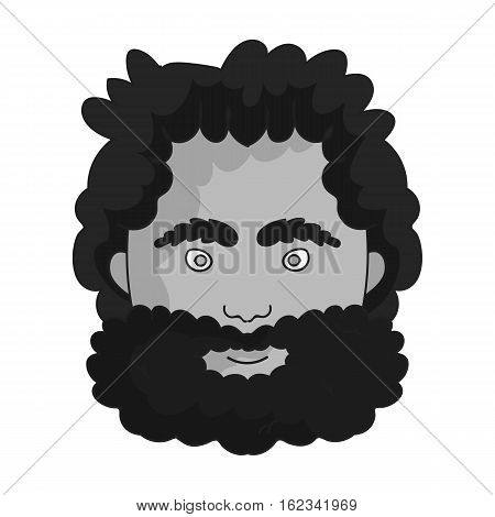 Caveman face icon in monochrome style isolated on white background. Stone age symbol vector illustration.