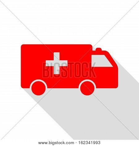 Ambulance Sign Illustration. Red Icon With Flat Style Shadow Pat
