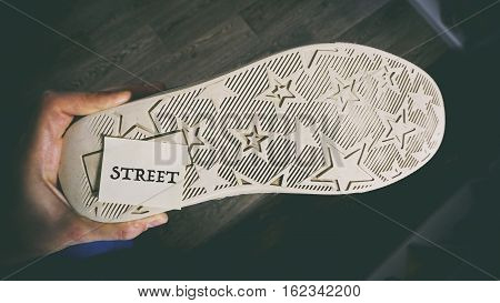 Shoe Sole, Words On Paper-based White Sticker