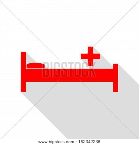 Hospital Sign Illustration. Red Icon With Flat Style Shadow Path