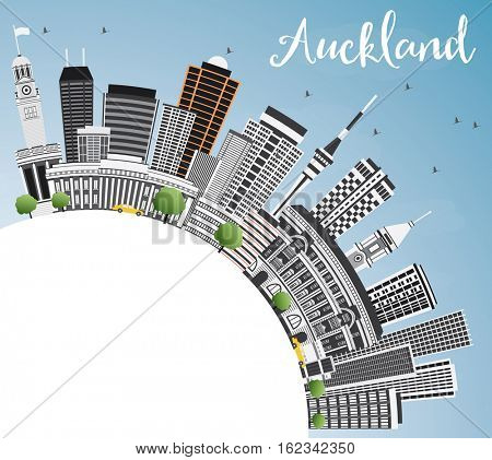 Auckland Skyline with Gray Buildings, Blue Sky and Copy Space. Business Travel and Tourism Concept with Modern Architecture. Image for Presentation Banner Placard and Web Site.