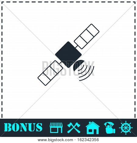 Satelite icon flat. Simple vector symbol and bonus icon
