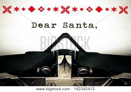 Dear Santa wish list Typewriter written message