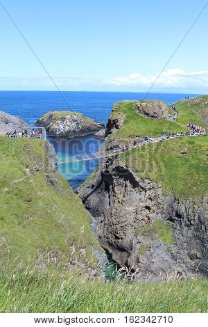 Rope Bridge Carrick-a-rede, bridge built by fishmen, Northern Ireland.