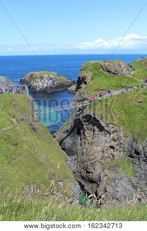 Rope Bridge Carrick-a-rede, bridge built by fishmen, County Antrim, Northern Ireland.