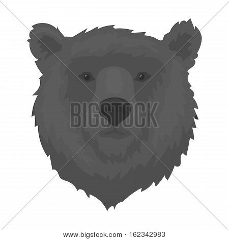 Brown bear muzzle icon in monochrome design isolated on white background. Russian country symbol stock vector illustration.