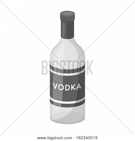 Glass bottle of vodka icon in monochrome design isolated on white background. Russian country symbol stock vector illustration.