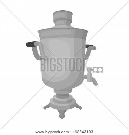 Samovar icon in monochrome design isolated on white background. Russian country symbol stock vector illustration.