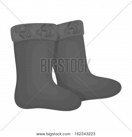 Winter felt boots icon in monochrome design isolated on white background. Russian country symbol stock vector illustration.