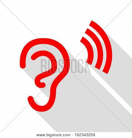 Human Ear Sign. Red Icon With Flat Style Shadow Path.