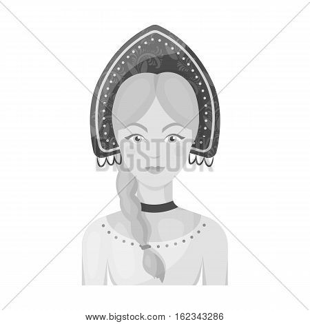 Russian woman in traditional suit icon in monochrome design isolated on white background. Russian country symbol stock vector illustration.