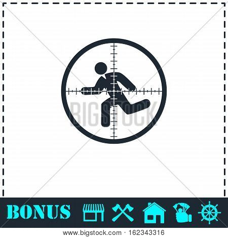 Crosshair icon flat. Simple vector symbol and bonus icon