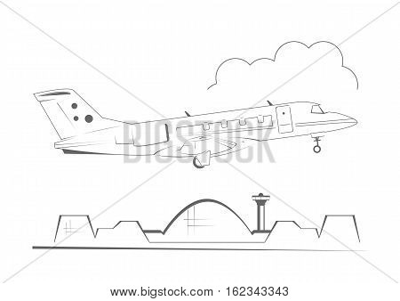 Airplane taking off. Line art design. Vector illustration.