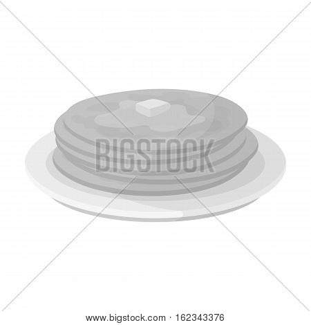 Russian pancakes icon in monochrome design isolated on white background. Russian country symbol stock vector illustration.
