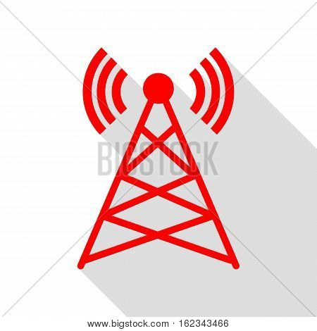 Antenna Sign Illustration. Red Icon With Flat Style Shadow Path.