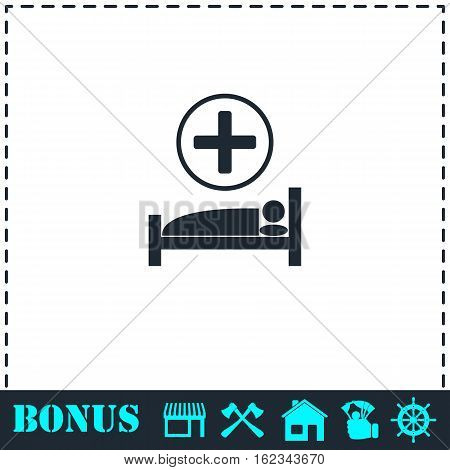 Hospital icon flat. Simple vector symbol and bonus icon