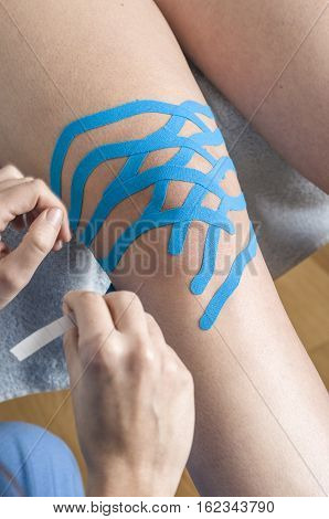 Lymphatic Knee Technique, Two Fan Strips. Kinesiology Tape