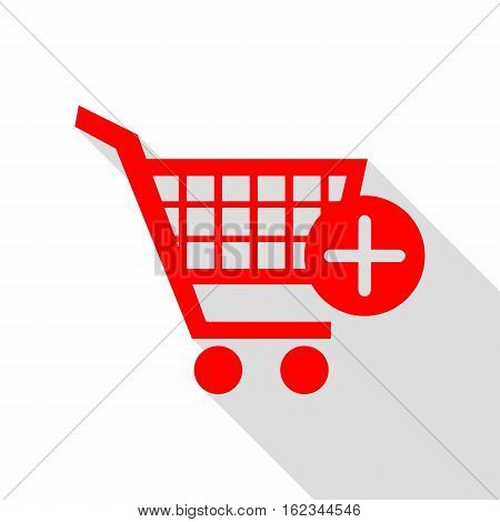 Shopping Cart With Add Mark Sign. Red Icon With Flat Style Shado