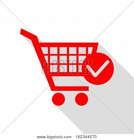 Shopping Cart With Check Mark Sign. Red Icon With Flat Style Sha