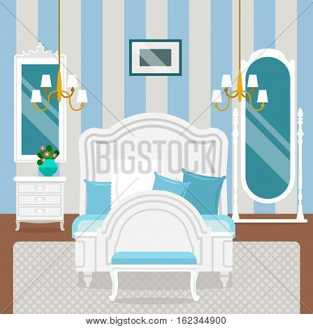 Bedroom interior with furniture and decoration in classic style. Bedroom interior cartoon vector illustration.