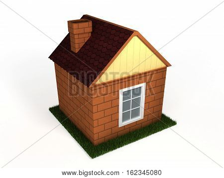 toy house standing on a green lawn on a white background isolated 3D