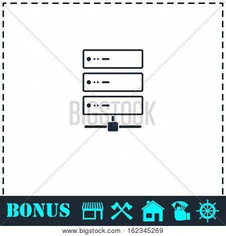Server icon flat. Simple vector symbol and bonus icon