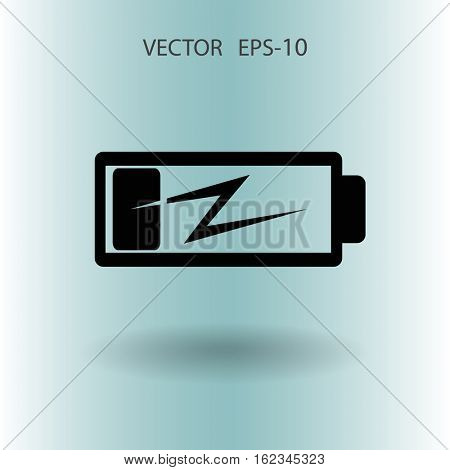 Flat battery low power icon, vector illustration
