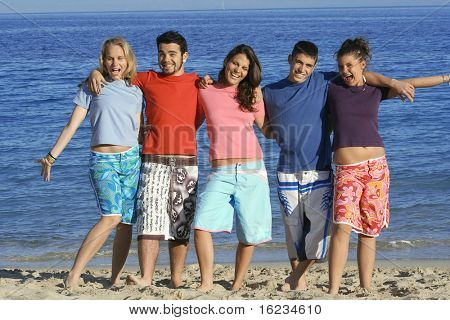 Five friends in different coloured t-shirts,goofing about at beach poster
