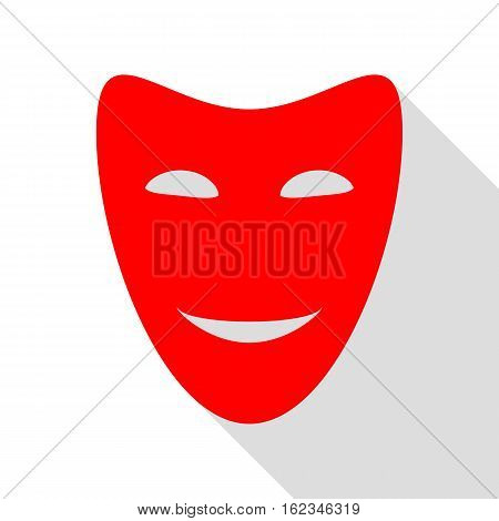 Comedy Theatrical Masks. Red Icon With Flat Style Shadow Path.