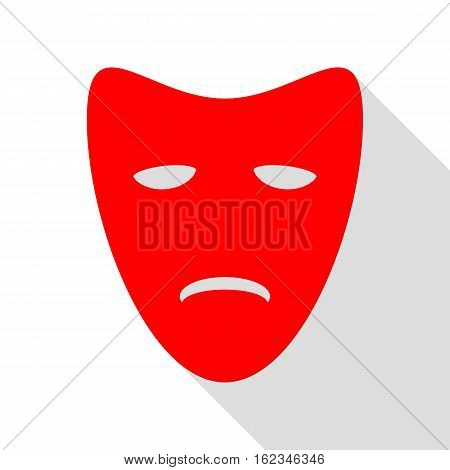 Tragedy Theatrical Masks. Red Icon With Flat Style Shadow Path.