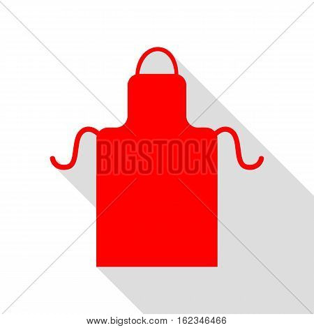 Apron Simple Sign. Red Icon With Flat Style Shadow Path.