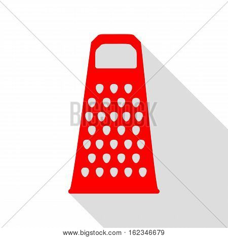 Cheese Grater Sign. Red Icon With Flat Style Shadow Path.