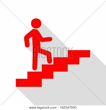 Man On Stairs Going Up. Red Icon With Flat Style Shadow Path.