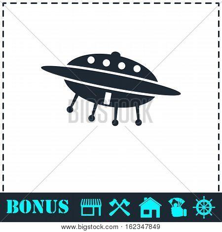 UFO icon flat. Simple vector symbol and bonus icon